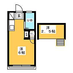 モジュール92 2階ワンルームの間取り