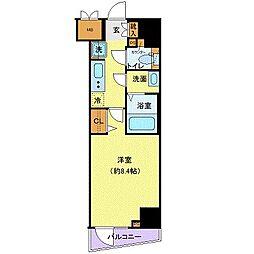 ジェノヴィア世田谷桜丘スカイガーデン 2階1Kの間取り