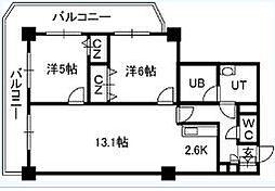 PRIMEURBAN札幌リバーフロント[1707号室]の間取り