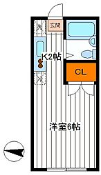 東京都立川市羽衣町2丁目の賃貸アパートの間取り