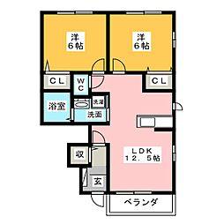 ヒラソル B棟[1階]の間取り