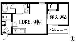 大阪府池田市鉢塚1丁目の賃貸アパートの間取り