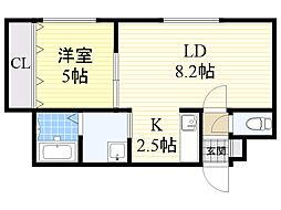 JR函館本線 発寒中央駅 徒歩4分の賃貸マンション 4階1LDKの間取り