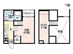 ココマンション 2階1Kの間取り