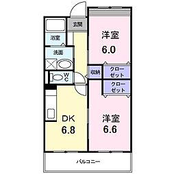 南海高野線 萩原天神駅 徒歩15分の賃貸マンション 2階2DKの間取り