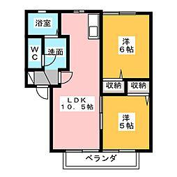中根マンション C[1階]の間取り