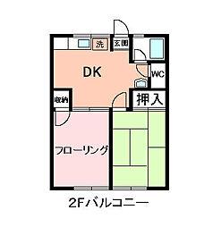 シティハイム日吉台[201号室]の間取り