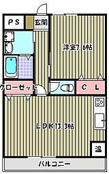 パルファン上野芝II[2階]の間取り