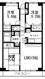 埼玉県所沢市花園1丁目の賃貸マンションの間取り