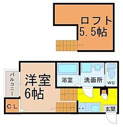 愛知県名古屋市昭和区菊園町2丁目の賃貸アパートの間取り