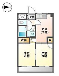 愛知県名古屋市北区大杉2の賃貸マンションの間取り
