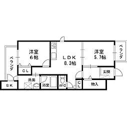 大阪府八尾市萱振町7丁目の賃貸アパートの間取り