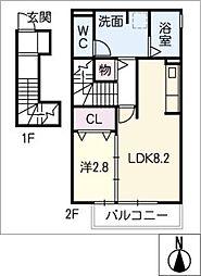 G-room飯柄 A棟 2階1LDKの間取り