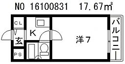 カプコン北田辺[3階]の間取り