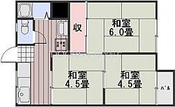 岡山県岡山市南区並木町2丁目の賃貸アパートの間取り