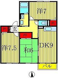 アミュゼ若柴 A 1階3DKの間取り