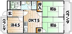 シャトレ西小石 B棟[2階]の間取り