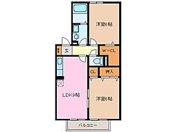 三重県亀山市東台町の賃貸アパートの間取り