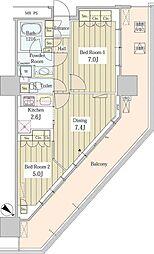 ユニゾンタワー 4階2DKの間取り