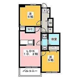 トゥインクルB[1階]の間取り