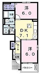 広島県福山市千田町1丁目の賃貸アパートの間取り