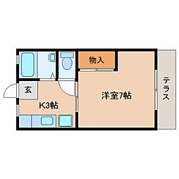静岡県静岡市駿河区小鹿の賃貸アパートの間取り