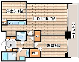 兵庫県神戸市中央区旭通4丁目の賃貸マンションの間取り