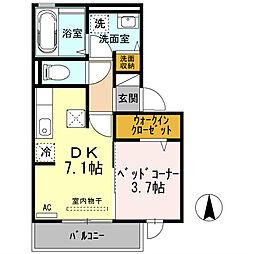 大阪府高槻市千代田町の賃貸アパートの間取り