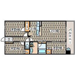 兵庫県神戸市須磨区西落合1丁目の賃貸マンションの間取り