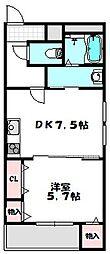 大阪府守口市八雲西町2丁目の賃貸アパートの間取り