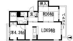 セジュール甲東Ⅱ[2階]の間取り