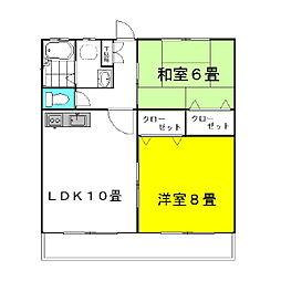茨城県神栖市知手中央1丁目の賃貸アパートの間取り