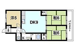 マンションナリタ 2階3DKの間取り