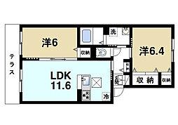 奈良県奈良市西大寺新池町の賃貸アパートの間取り