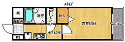 フルーレ住之江[2階]の間取り