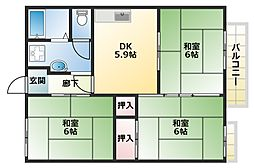 大阪府大阪市平野区喜連4丁目の賃貸アパートの間取り