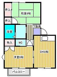関川ハイツB棟[201号室]の間取り