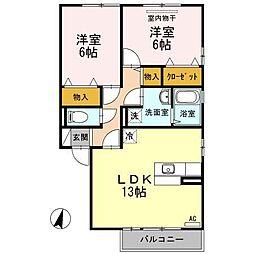 ソレイユ千田 A棟[2階]の間取り