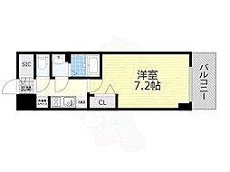 名古屋市営名城線 東別院駅 徒歩4分の賃貸マンション 7階1Kの間取り