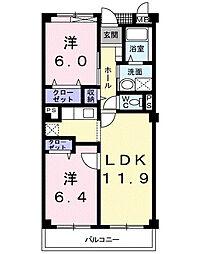 サンライズヴィラひたち野B[3階]の間取り