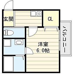 大阪府大阪市生野区鶴橋5丁目の賃貸アパートの間取り