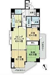 千葉県習志野市新栄1丁目の賃貸マンションの間取り