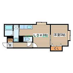 北海道札幌市東区北三十三条東9丁目の賃貸アパートの間取り