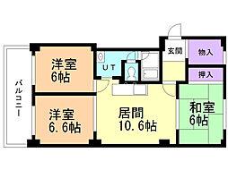 真駒内緑町団地2号棟 6階3LDKの間取り