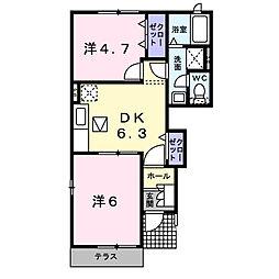 パルフェ三隈B[1階]の間取り