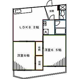 JR中央本線 三鷹駅 バス15分 杏林大学病院下車 徒歩2分の賃貸マンション 3階2LDKの間取り