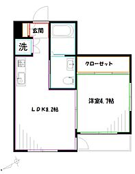 JR中央本線 三鷹駅 徒歩17分の賃貸アパート 1階1LDKの間取り