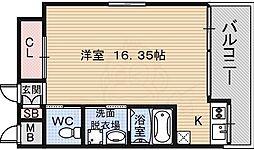 南海線 堺駅 徒歩2分の賃貸マンション 4階ワンルームの間取り