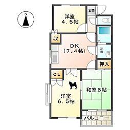 セントラル・アイランド A・B[1階]の間取り