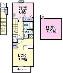 大阪府堺市中区平井の賃貸アパートの間取り